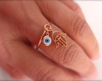 Rose gold Hamsa and Evil eye dangle ring - adjustable ring - rose gold vermeil hamsa evil eye ring - blue evil eye - white evil eye