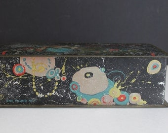 Vintage Park & Tilford Candy Tin  // Nuts and Fruits // New York Paris  // Hinged Top Tin Storage Box