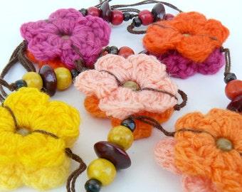 Gypsy long necklace, Casual cool necklace, Boho look, Ecofriendly Crochet flower fuchsia, orange, yellow, red pink, Bright Textile accessory