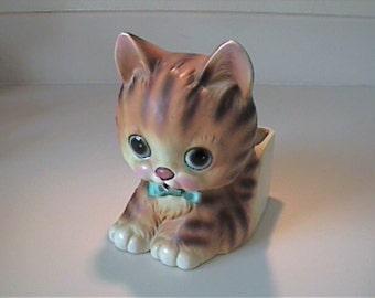 Vintage 1950's pottery orange tabby kitty cat planter - Lego #7288