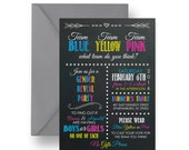 Twins Gender Reveal Invitations Chalkboard Baby Shower Invite Retro Typography Neutral Surprise Yellow Pink Blue Printable or Printed Party