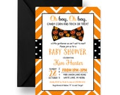 Halloween Baby Shower Invitation Boys Bow Tie Invites Orange and Black Spooky Sprinkle Party Printable or Printed Cards Personalized (HALB)