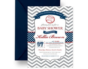 baseball baby shower  etsy, Baby shower invitations
