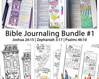 Bible Journaling Bible Verse Art Bible Verse Print great for faith journals Art Journals Bundle 1 Psalms 46-1, Zephaniah 3-17, Joshua 24-15