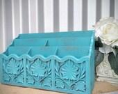 Shabby Chic Turquoise, Tiered Letter Holder - Desk Organizer - Letter File