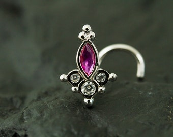 Cluster Marquise Fuschia CZ diamond nose stud / nose screw / nose ring