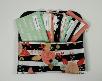 Cash Budget System, Cash Envelope Wallet, 5 to 15 Envelopes -Mint & Blush Floral (It can be used with the Dave Ramsey system)