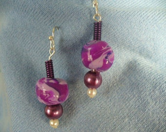 Purple Swirl Bead and Coiled Wire Earrings