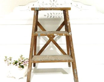Vintage Wood Step Ladder Rustic Shabby Chic