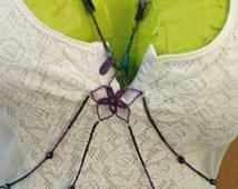 Purple Beaded Flower Body Chain Belly Chain Hawaii Waist Chain Necklace Body Jewelry Hippie Jewlery Body Harness Adjustable Plus Size