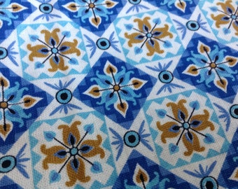 Vintage Blue Cotton Fabric Floral Squares Retro Fabric