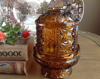 Gorgeous Indiana Amber Glass Two Piece Hurricane Lamp Candleholder