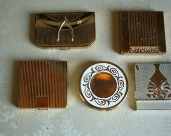 Vintage Brass Coty Compact, Avon Compact, Elgin Compact, Max Factor Cream Puff, Compact, Women