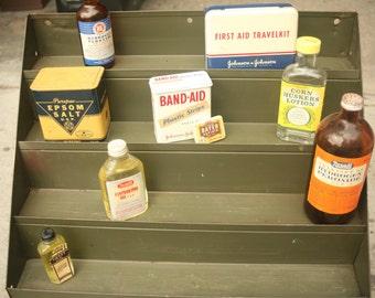 Vintage Metal Industrial Display Shelf, Olive, Shop, Home Decor, Tool Organization, Metal Rack, Storage