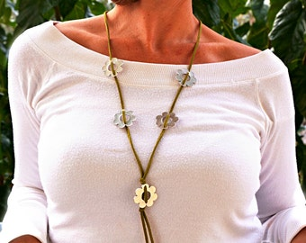Long Boho Necklace, Leather Bohemian Daisy Jewelry, Country Flower Necklace