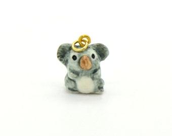 Tiny Porcelain Koala Bear Charm Miniature Koala Pendant Hand Painted Porcelain Charm Glass Koala Charm Vintage Style Jewelry Supplies(AT094)