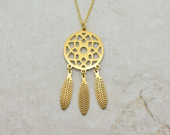 Dream Catcher Necklace, Brushed 24k Gold Plated Stainless Steel, Dainty Minimal Layering Layered Long Necklaces