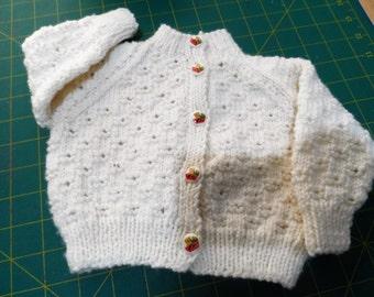 Hand Knitted Baby Cardigan - Handmade Wool  Baby Knit - New Born Baby - Knitted Baby Jacket - Woolen Baby Top
