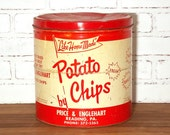 Vintage Price and Englehart Potato Chips Can Large 2 lb Tin with LId
