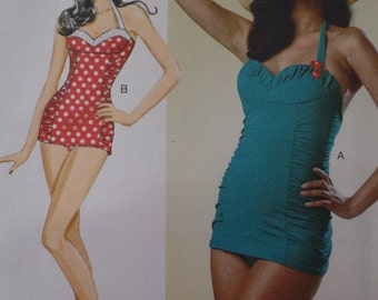 50s Swimsuit Pattern M L XL 14 16 18 20 22 36- 44 bust 1950s Swim Suit Butterick 6067 Repro Bombshell One Piece