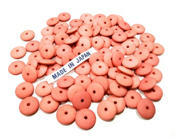 VINTAGE: 100 Japanese Mat Plastic Disk Beads - Coral Beads - Round Disc Beads - (11-B1-00004623)