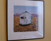 Lonely Traveler--A Framed Linoleum Print/Linocut of a Lonely Stranger in an Airstream