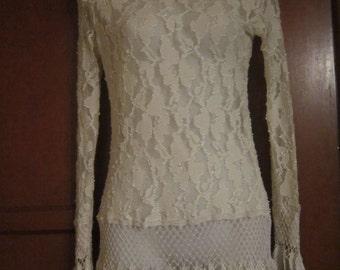 Vintage Cream Lace Top with Hanging Leaf Design