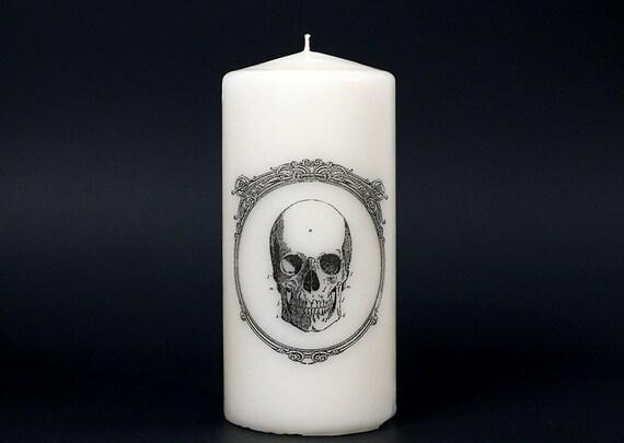Skull Candle - Anatomy -  Pillar Candle - Gift Under 20