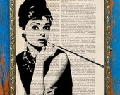 Breakfast At TIffany's Audrey Hepburn Original Print on Unframed Upcycled Bookpage