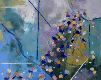 Original Abstract Oil Painting / 30 X 30 / Palette Knife in Lavender, Green, Blue, and Gold
