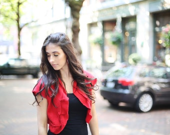 Valentine's day red Cashmere shrug with ruffles. Perfect layering piece from Vintage Creations