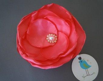 Coral Taffeta Corsage, Coral Brooch, Coral Fascinator, Coral Hair Accessory, Coral Bridal, Coral Bridesmaid's Flower