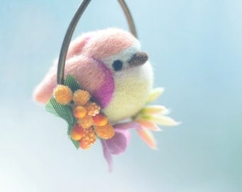 Needle felt bird pendant necklace, soft sculpture wool bird jewelry, pink bird on flower hoop pendant, whimsical jewelry, gift under 25