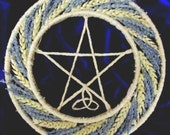 Handmade Positively Pagan / Wiccan  Handfasting Altar Pentacle Wheel. Wheat & lavender Wedding Wreath