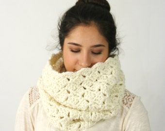 Chunky Cowl Scarf Crochet Loop Neck Warmer Scarf  THE ROCHESTER Fisherman