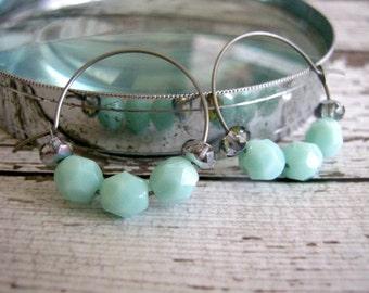 Powder Blue Hoop Earrings : Glass Beaded Jewelry