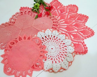 4 Vintage Doilies, Crocheted Doilies, Linen Doily, Shades of Coral, Cottage Chic Home Decor, Vintage Linens By The Sweet BasilShoppe