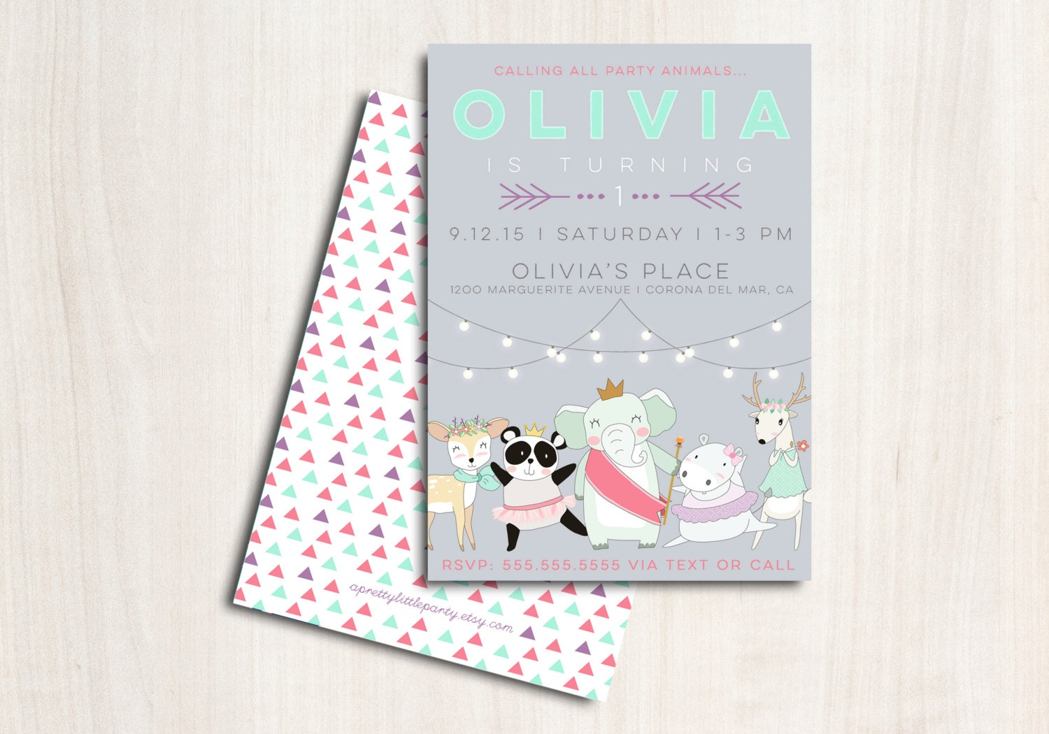 Darling Divas Animal Invitation - Animal Dance Party  - Printable Party Supplies