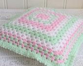 Pastel crochet throw pillow, handmade Swedish home decor , crochet granny cushion, mint , pink and white