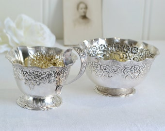 Footed creamer and sugar bowl, ornate silver plate, vintage Swedish Nils Johan, fifties tableware