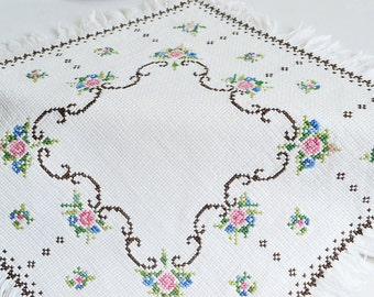 "Embroidered small tablecloth with fringe, vintage Swedish cross stitch doily, 12 "" rose embroidery"