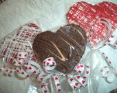 12 Valentines Day Large Heart Shaped Double Drizzed Chocolate Lollipops Valentines Day Gift Party Favors