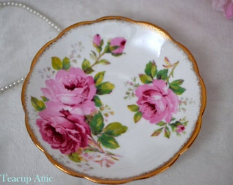 Royal Albert American Beauty Replacement Saucer, English Bone China Saucer, ca. 1970