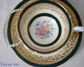 Royal Grafton Deep Green And Gold Teacup and Saucer, English Bone China Tea Cup And Saucer Set, Replacement China, Tea Party, ca. 1950-