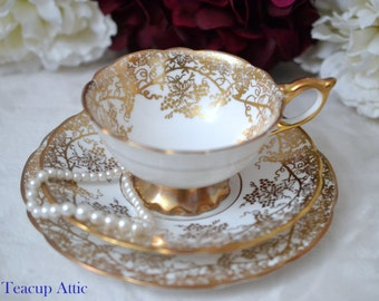 Royal Stafford Elegant White And Gold Grapevine Teacup and Saucer Trio, Vintage English Bone China Tea Cup, Wedding Gift,  ca. 1950