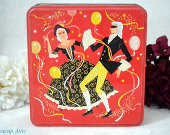 Carr & Co. Ltd Vintage Mardi Gras Biscuit Tin, English Cookie Tin, ca. 1970