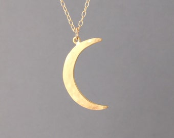Hammered Gold Crescent Moon Necklace also in Rose Gold or Silver