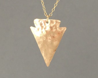 Gold Fill Hammered Arrowhead Necklace also in Silver and Rose Gold Fill