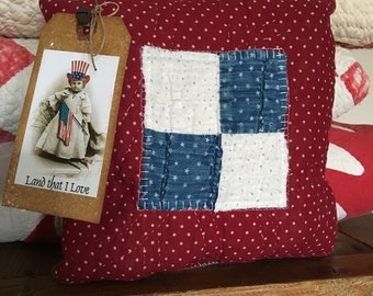 Americana Primitive Decor~ Olde Quilt Prim Pillow Tuck~ USA~Vintage quilt~ primitive country decor~ Fourth of July~ Liberty~ maroon indigo