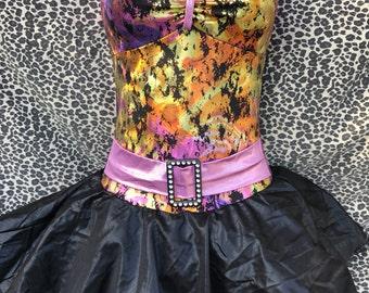 Vintage Black, Purple, Copper, & Gold Skirted Leotard Dance Costume. Witch, Bat, Autumn Fairy, Tribal, Barbie, Bratz, Monster High. Adult Sm